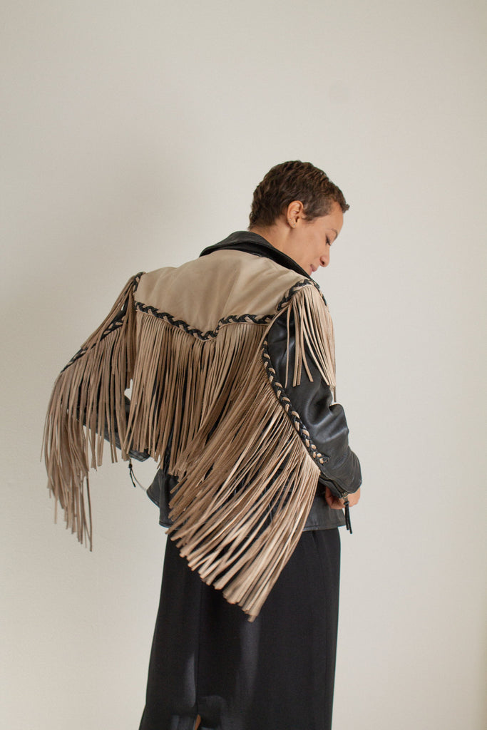 Vintage black and tan leather fringe and braid detail jacket // S