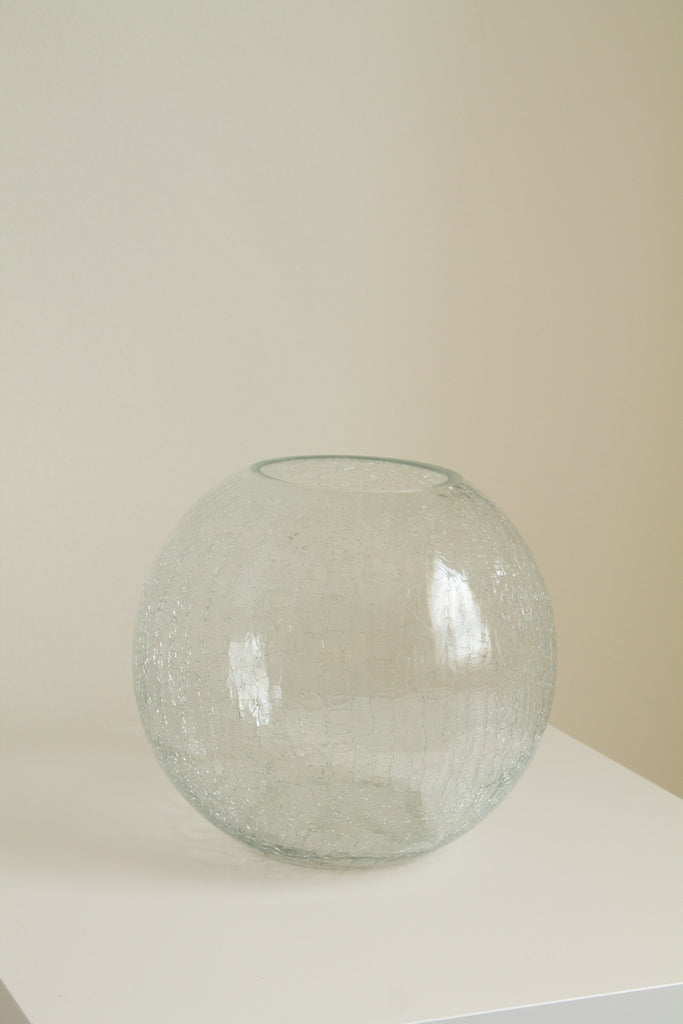 Vintage large glass crackle round ball vase