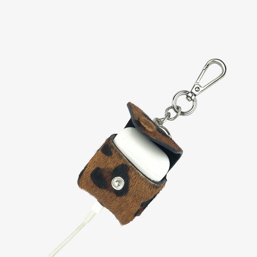 AirPod Keychain Leopard Hair Calf