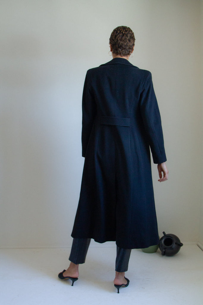 Vintage 90s black wool long coat // S