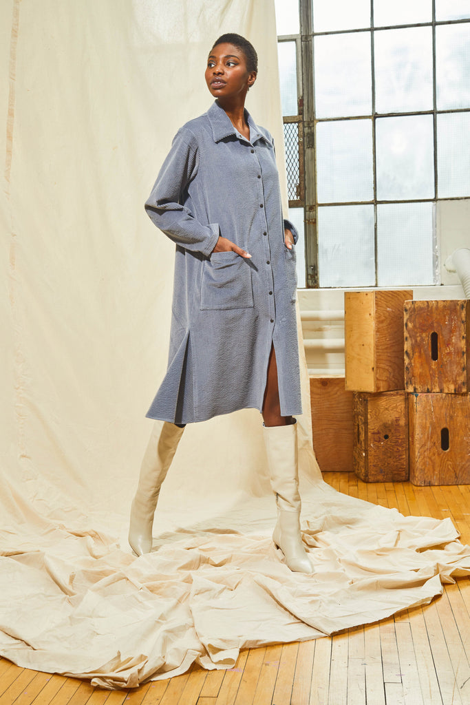 Chore Style Shirt Dress - Ice Grey