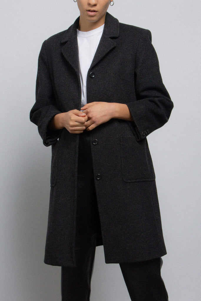 Vintage 90s charcoal gray wool and cashmere-blend coat // M