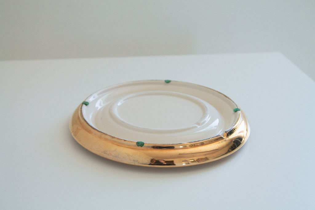 Vintage 80s cream and gold oversized ashtray