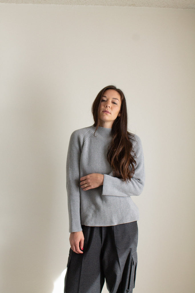 Vintage gray cotton chunky mock neck sweater // XXL+