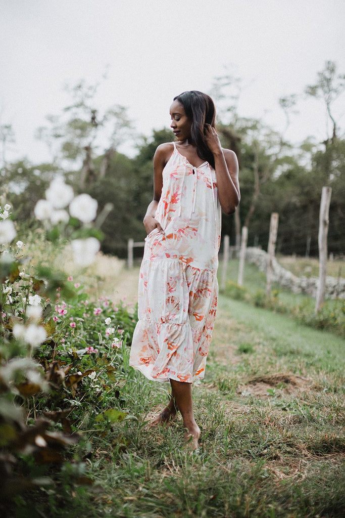 Paula Tiered Maxi Dress - Coral Floral