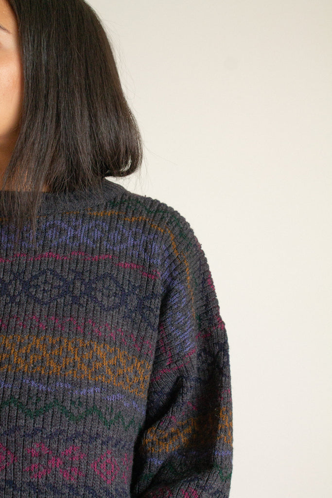 Vintage gray wool blend abstract sweater // XXL