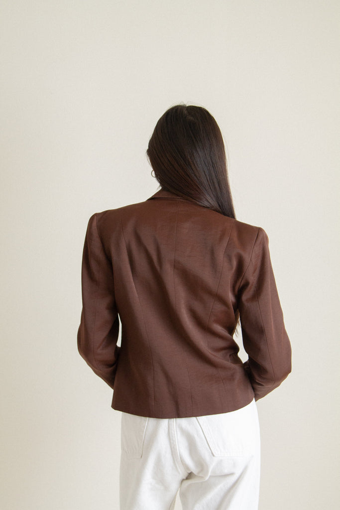 Vintage brown shiny cropped jacket // XS
