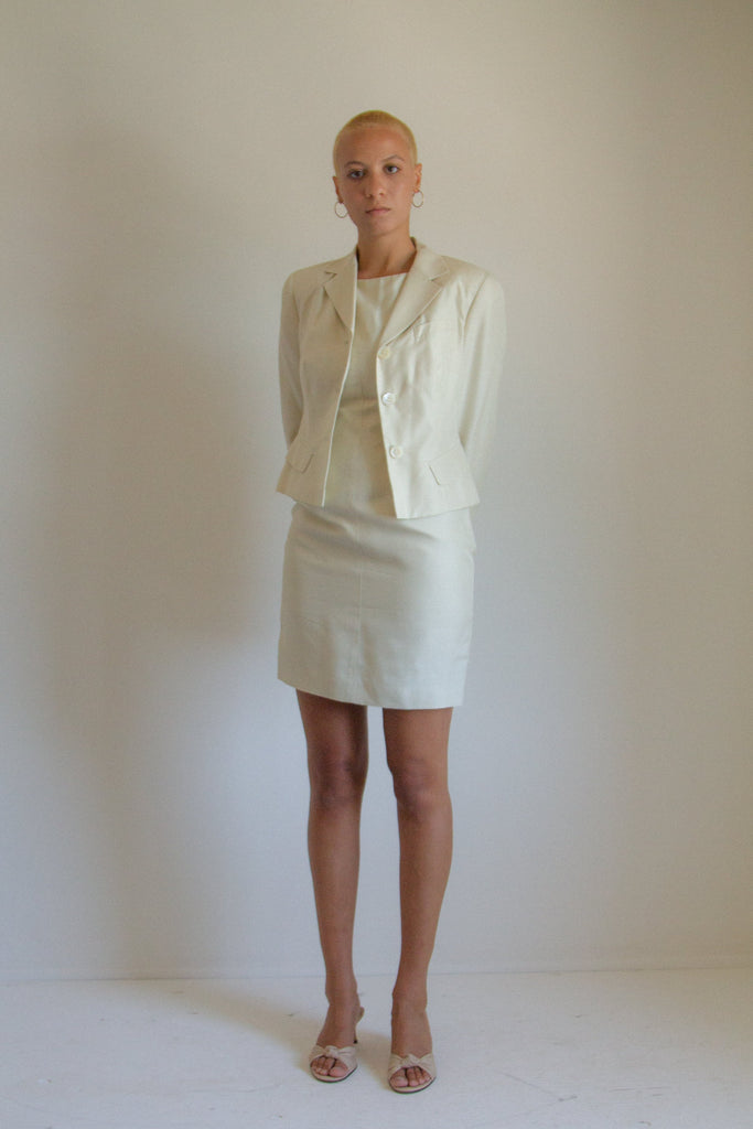 Vintage beige silk dress and jacket set // S