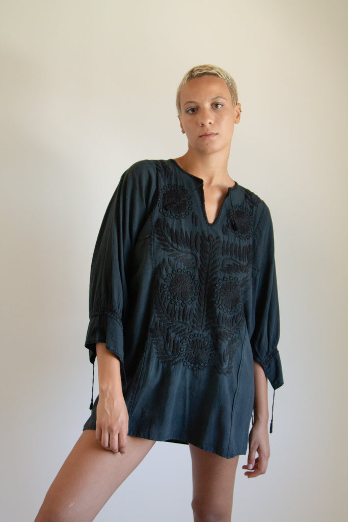 Vintage black cotton embroidered short dress // one size