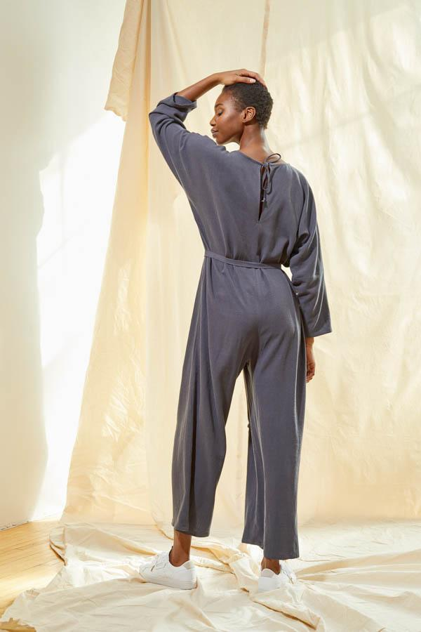 V-Neck Jumpsuit - Slate Grey