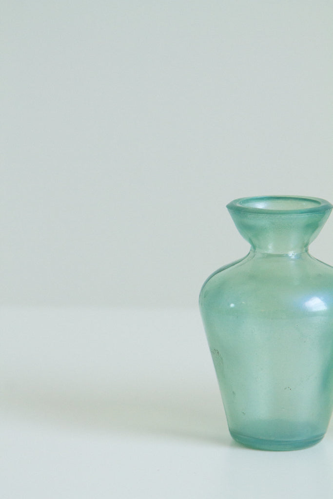 Vintage green glass iridescent vases
