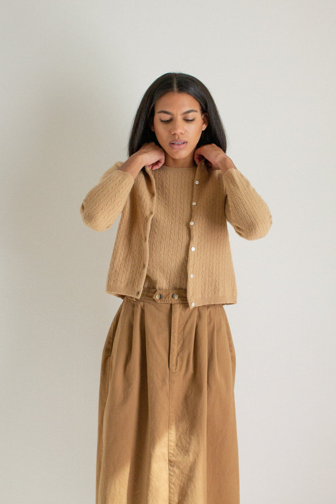 Vintage tan angora and cashmere blend sweater set // S