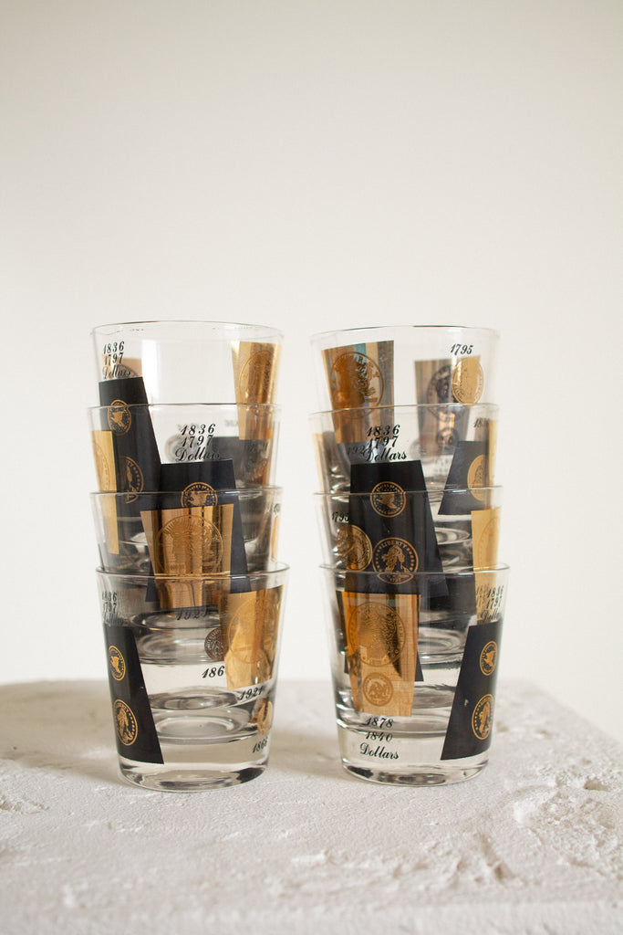 Vintage glass gold and black coin highball glasses