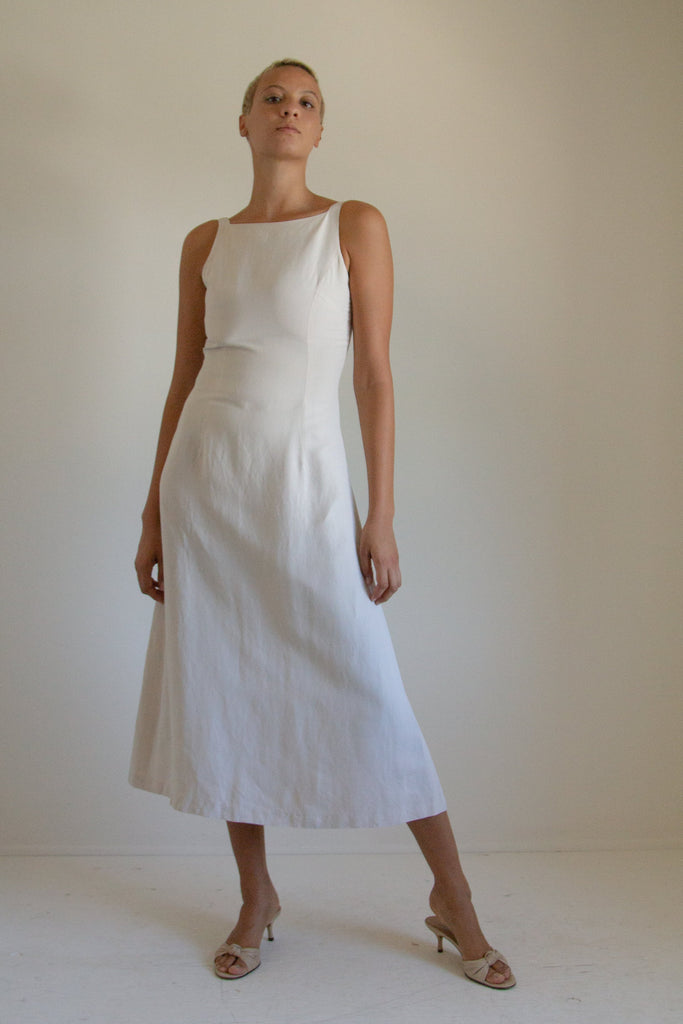 Vintage cream linen-blend square neck midi dress // S/M