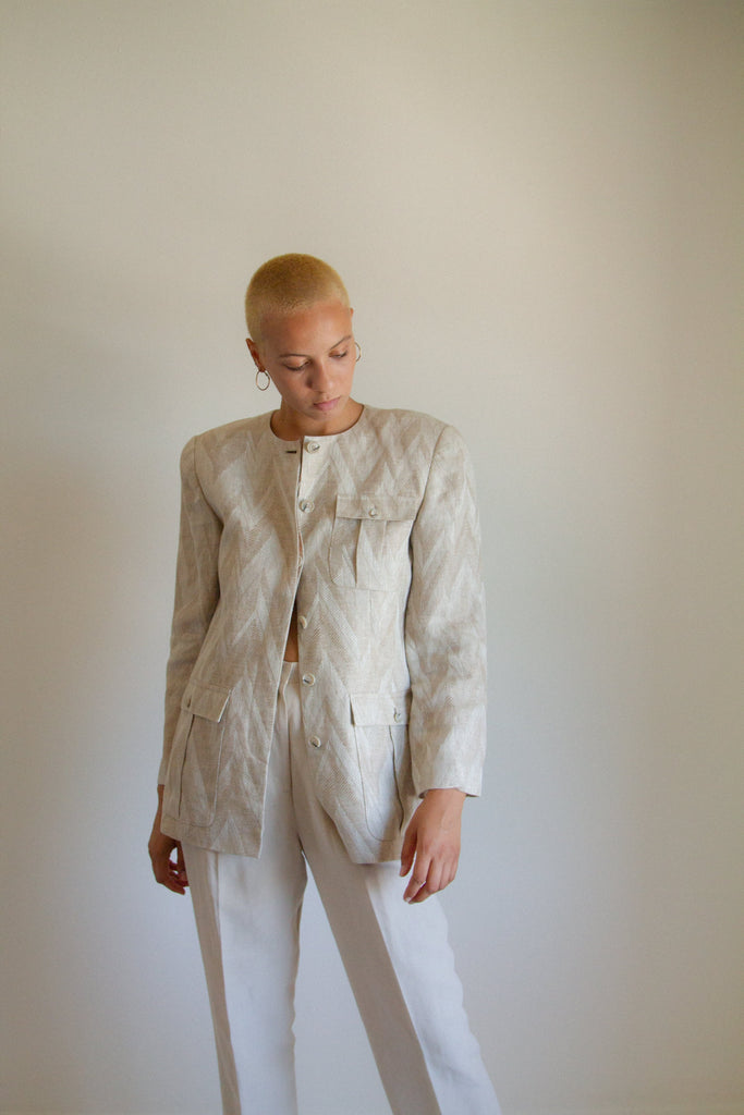 Vintage tan and ivory linen jacket // M