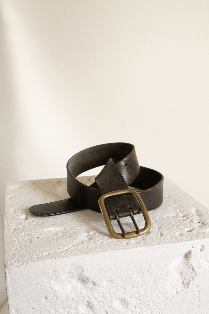 "Vintage brown leather double prong brass buckle belt // 29-35.5"" waist"