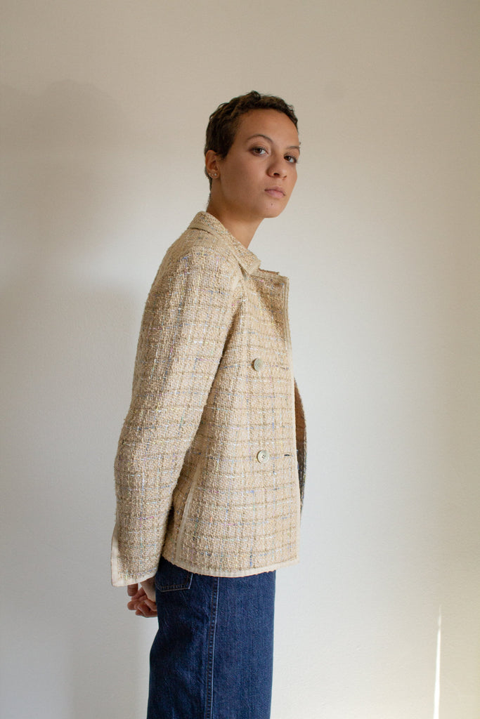 Vintage tan tweed double breasted jacket // M