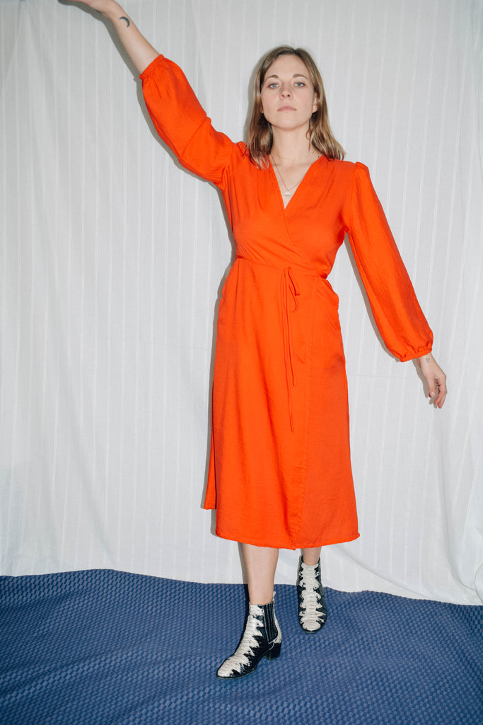 May Long Sleeve Wrap Dress - Red Orange