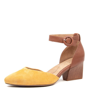 Women's Ziera Vanita in Mustard Dk Tan Suede Leather sku: ZR10063YDTDD
