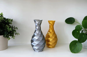 geometric vase with gold and silver versions