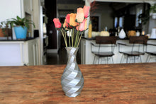 Load image into Gallery viewer, silver geometric vase with flowers