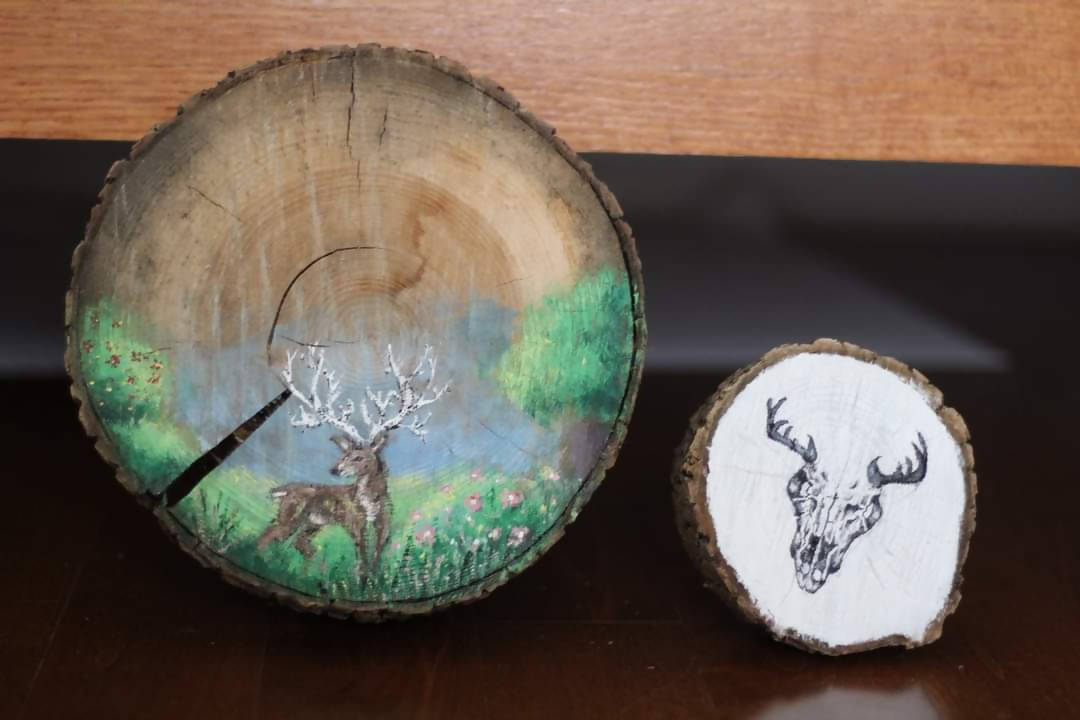 """Circle of Life"" Diptych on Natural Wood"