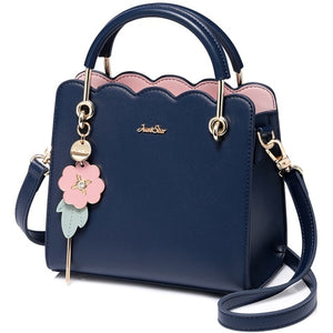 LJL-Just Star Women'S Pu Leather Handbag Ladies Fashion Stitching Handbag Lady Flower Tassel Fresh Color Crossbody Bag