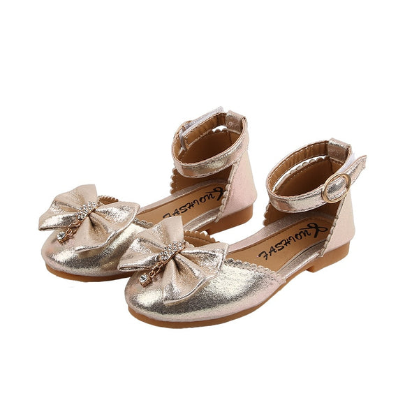 Girls Shoes Kids bow-knot Rhinestone Princess Shoes Girl Sandal chaussure fille Childrens shoes For Party and wedding 2 3 4 5-14