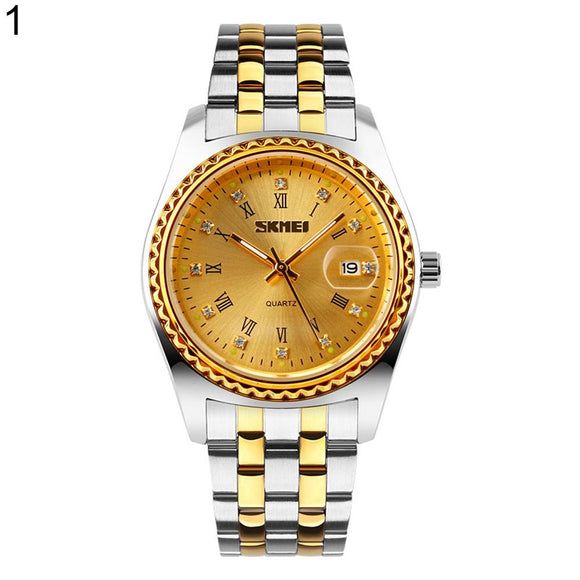 Roman Numerals Rhinestone Date Quartz Unisex Stainless Steel Band Wrist Watch New