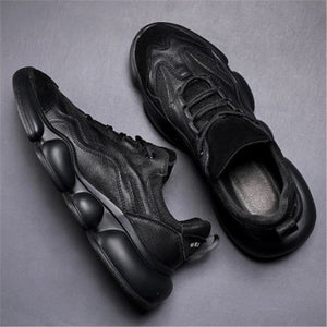 Autumn men's shoes trendy shoes new black low top Korean versatile student leather soft sole casual shoes