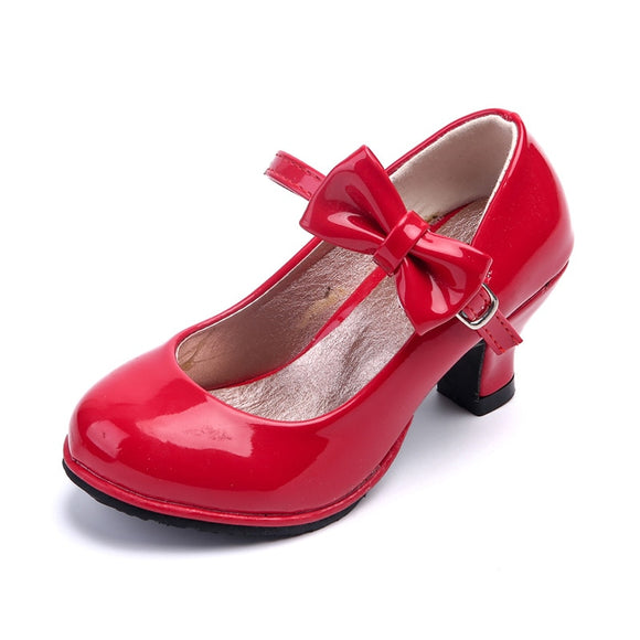 2019 Summer Little Girl High-Heeled Shoes Patent Leather Baby Girls Heel Leather Shoes Kid Dance Shoes Baby Girl Party Shoes Red