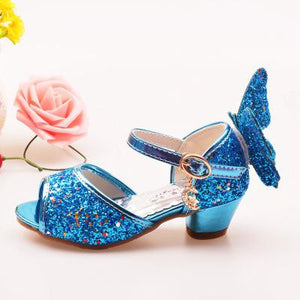 Girls Sandals Rhinestone Butterfly Latin Dance Kids Shoes Children High Heel Princess Shoes Glitter Leather Party Dress Wedding