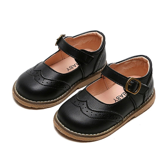 New Toddler Girl's Leather Oxford Wingtips Casual Shoes Children Brogue Mary Jane Uniform Shoes for Kids Baby Flat Dress Shoes
