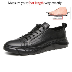Autumn Winter Men Genuine Leather Solid Black Casual Shoes Sneakers Chaussure Homme Cuir High Quality Brand Flat Shoe Big Size
