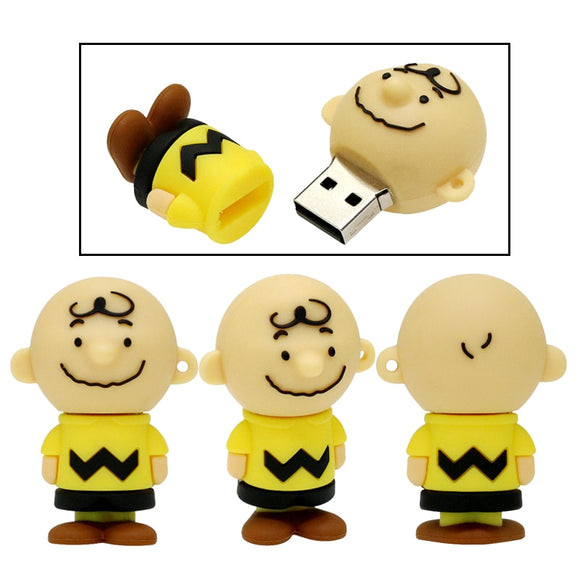 Cartoon Charlie Brown Pendrive Usb Flash Memory Drive 128GB Lovely Boy Usb Stick 64GB 32GB 16GB 8GB 4GB Toy Peanuts Gift
