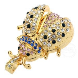 TEXT ME beautiful crystal gold beetle model usb2.0 4GB 8GB 16GB 32GB  pen drive USB Flash Drive creative Pendrive