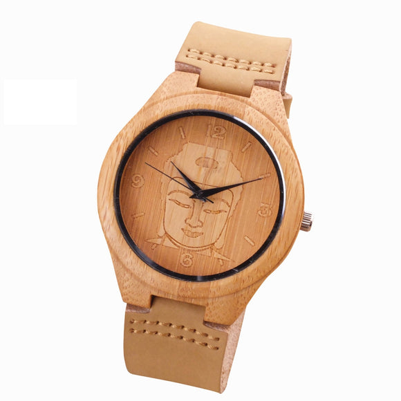 2018 Bamboo Wood Watch Minimalist Buddha Genuine Leather Band Strap Nature Wood Bangle Wristwatch Unisex Reloj Hombre Clock
