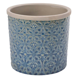 Dark blue daisy flower pot