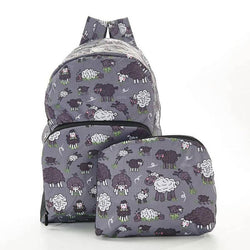 Foldable Backpack Sheep Design Grey