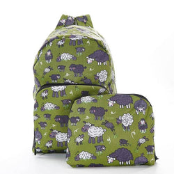 Foldable Backpack Sheep Design Green