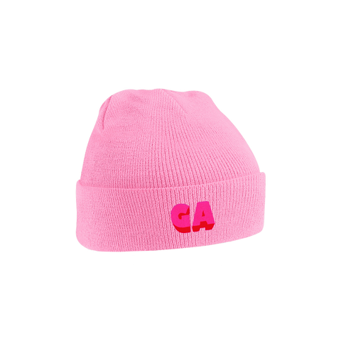 GA Embroidered Beanie Pink