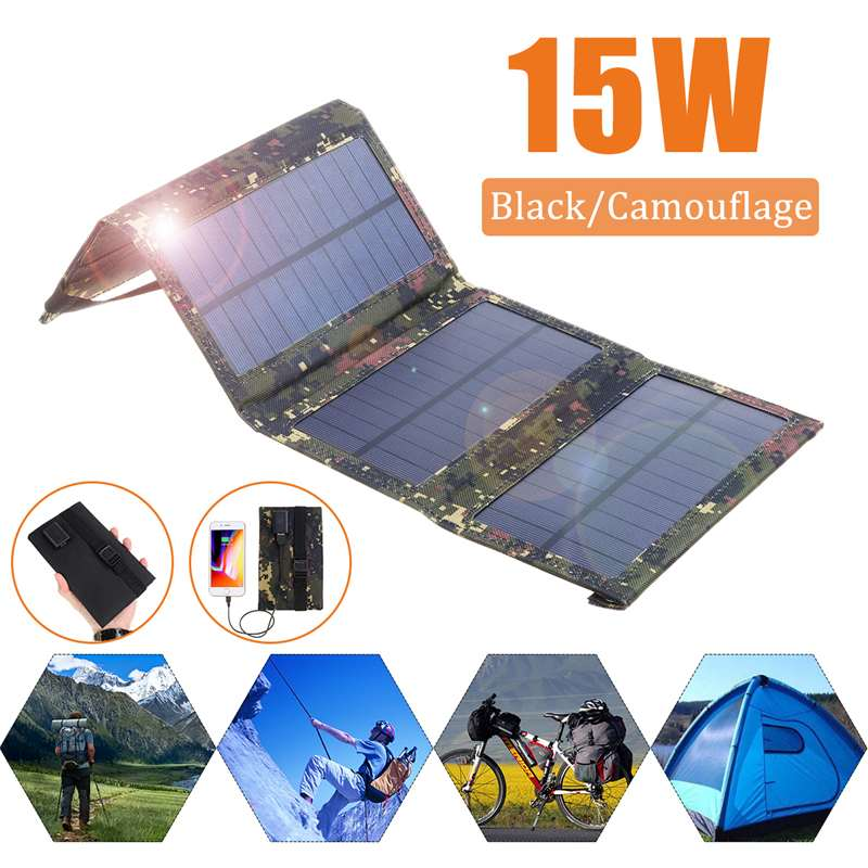 15W Portable Solar Panel 5V Monocrystalline Folding Foldable Waterproof Charger Sun Power Bank for Phone Battery USB Port - MosQi