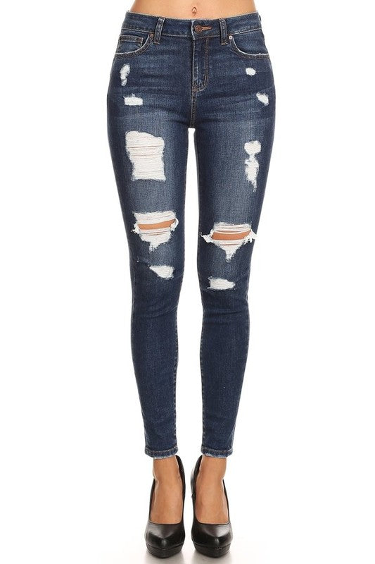 DARK DENIM DISTRESSED