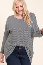 Load image into Gallery viewer, BLACK & WHITE STRIPE 3/4 SLEEVE TOP