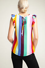 Load image into Gallery viewer, RAINBOW STRIPED RUFFLED TANK TOP