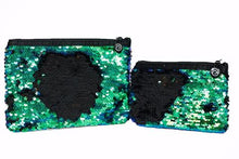 Load image into Gallery viewer, BLUE, GREEN & BLACK REVERSIBLE SEQUIN POUCH