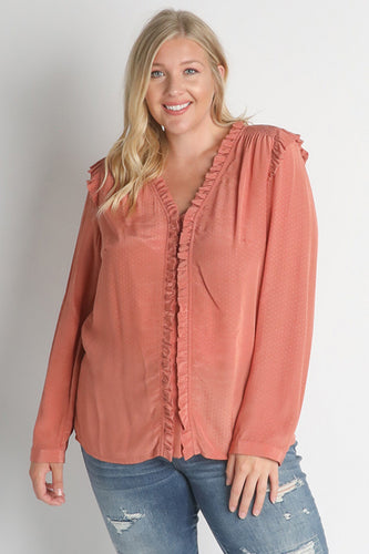 GINGER PINK RUFFLE  BLOUSE