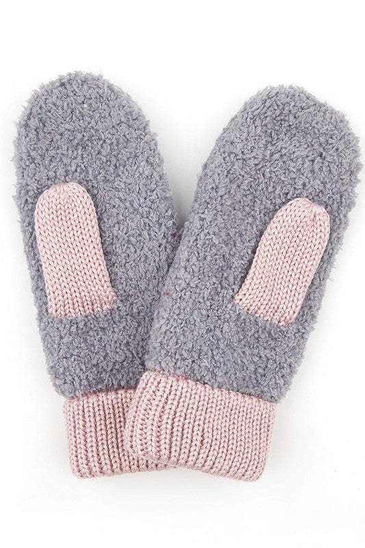 KNITTED SHERPA WINTER GLOVES