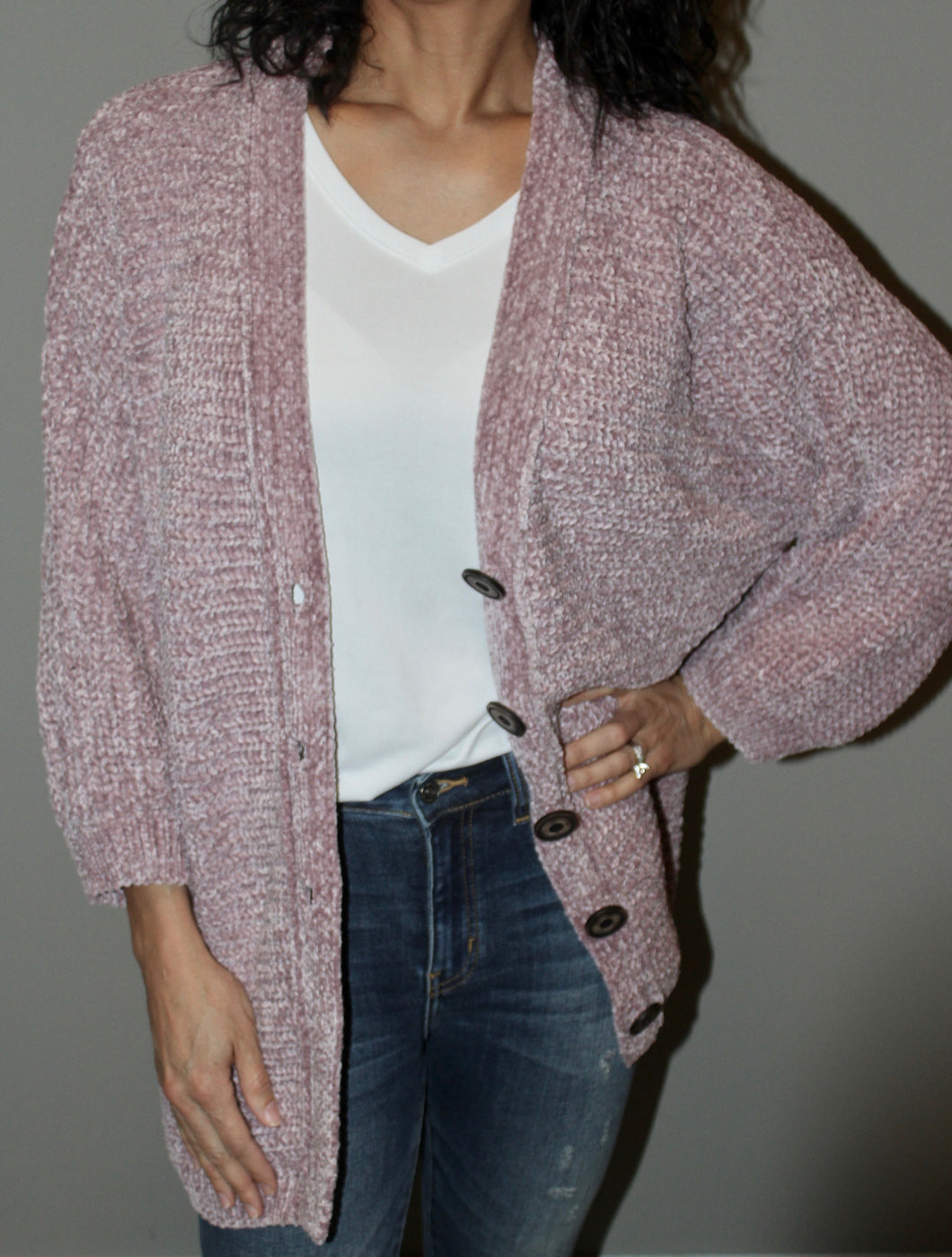 CHENILLE KNIT BUTTON DOWN CARDIGAN