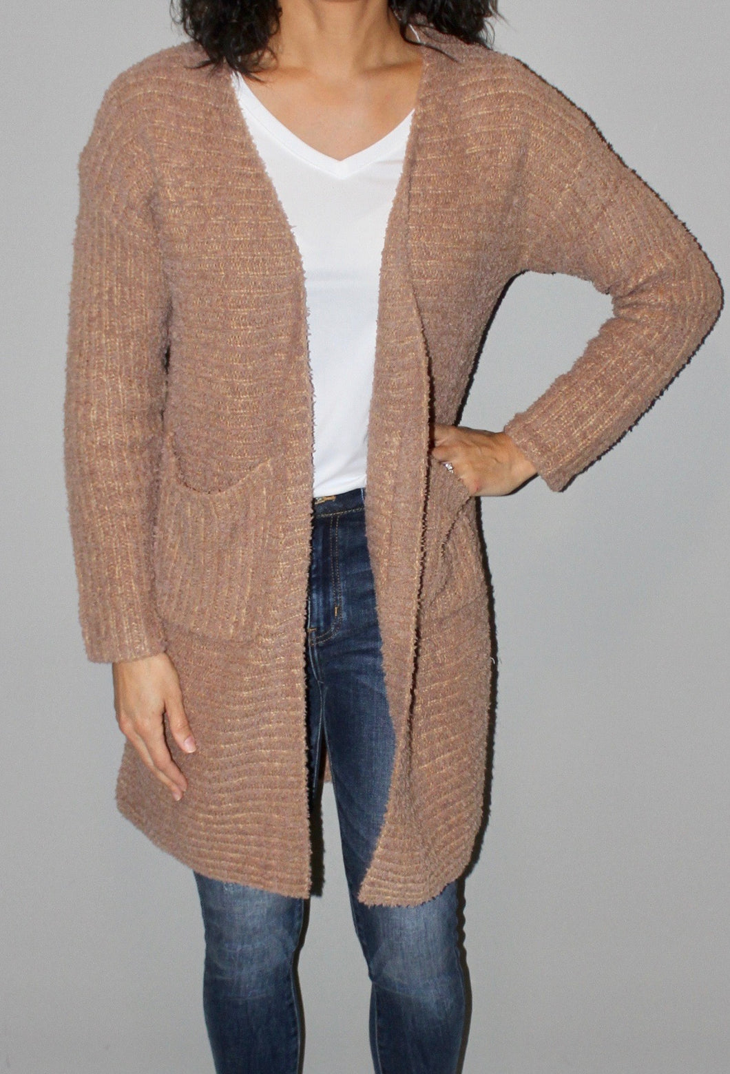 TEXTURED RIBBED KNIT CARDIGAN